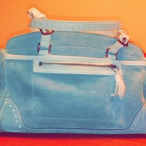 Baby blue small suede coach hobo style purse